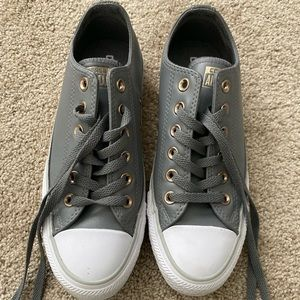 Converse Allstar leather. Gray and gold